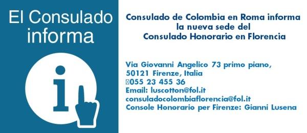 El Consulado de Colombia en Roma informa la nueva sede del Consulado Honorario en Florencia