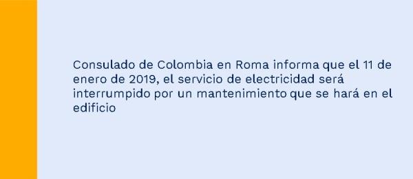 El Consulado de Colombia en Roma informa que no tendrá atención