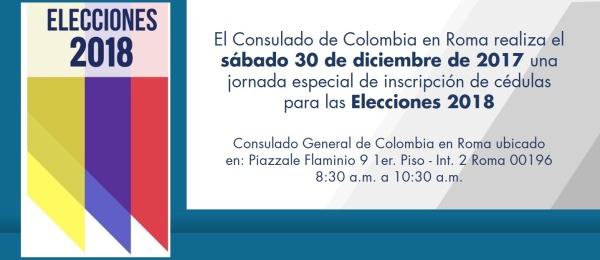 El Consulado de Colombia en Roma realiza el sábado 30 de diciembre de 2017 una jornada especial de inscripción de cédulas para las Elecciones 2018